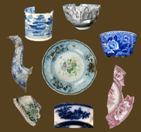Examples of various kinds of printed underglaze earthenware from the MAC Lab collecions.